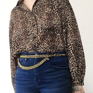 Vintage Chunky Gold Tone Metal Double Chain Belt